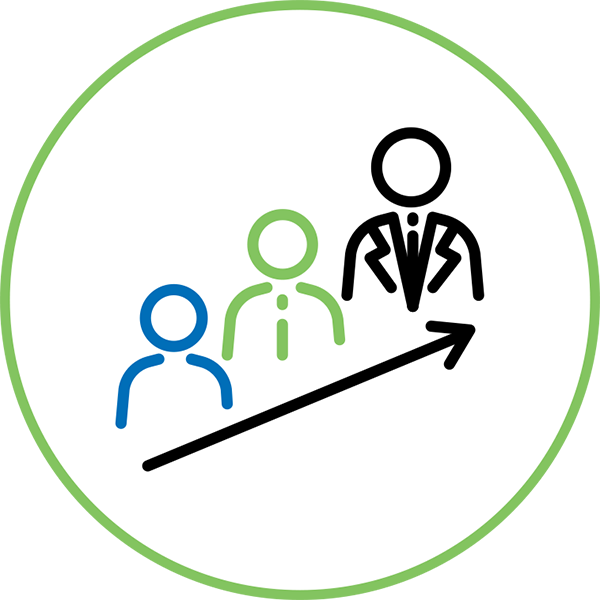 Career Management Icon - Illustration Of 3 People Showing Hierarchy Inside A Circle