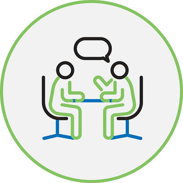 Career Management Icon - Illustration Of 2 People At A Table Talking Inside A Circle