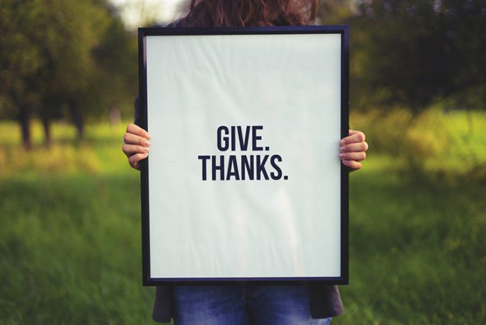 Person Holding A Sign That Says Give Thanks