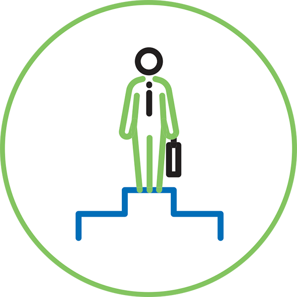Leadership Management Icon - Illustration Of A Person Holding A Brief Case Standing On A Stepped Podium Inside A Circle