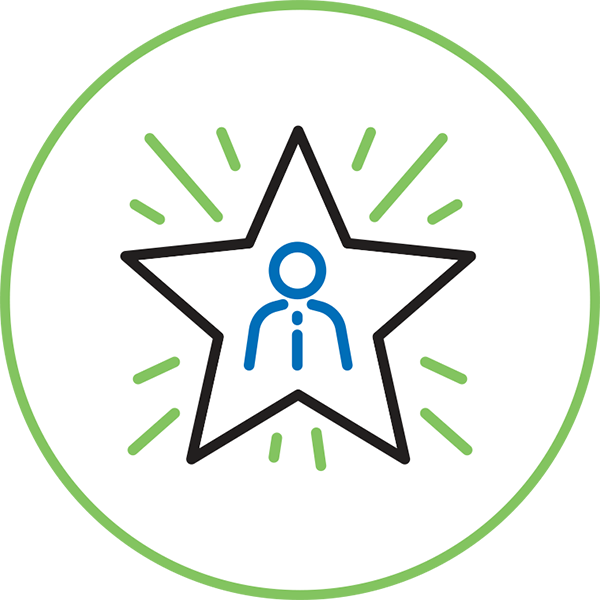 Career Management Icon - Illustration Of A Person Inside A Star Inside A Circle