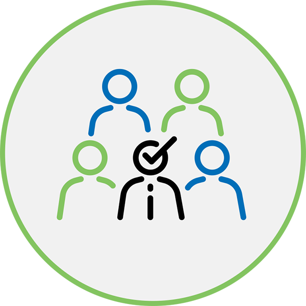 Career Management Icon - Illustration of 5 people with one having a checkmark over their head inside a circle