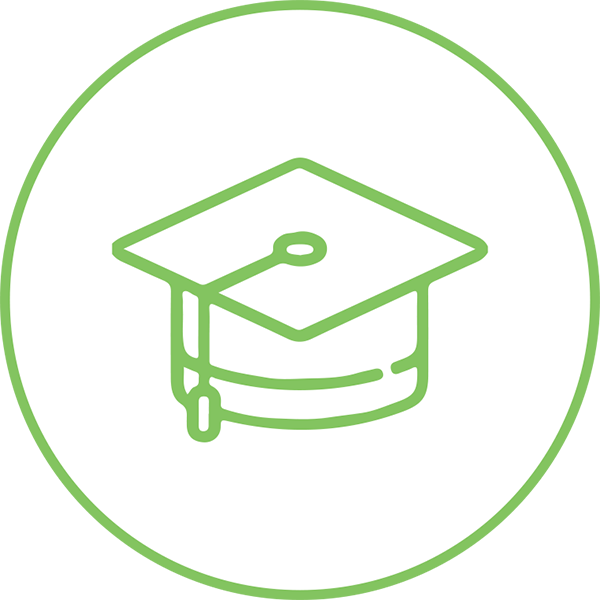 Green Graduation Cap Icon Inside White Circle With Green Outline