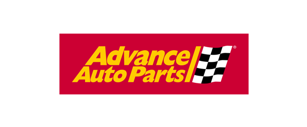 Advance Auto Parts Logo - Red rectangle with gold sans-serif type and checked flag inside