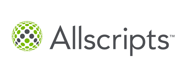 Allscripts Logo - Dark gray sans-serif type with circle made of dots to left