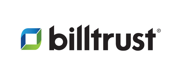 Bill Trust Logo - black sans-serif type with blue and green square icon to left