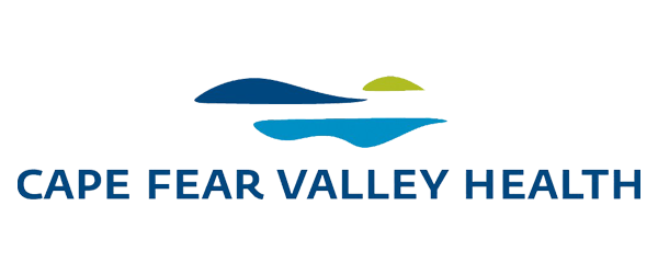 Cape Fear Valley Health Logo - Navy blue sans-serif type with basic illustration of water and land