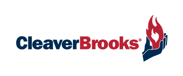Cleaver Brooks Logo - Dark blue and red sans-serif type with an icon of a hand holding a flame to right