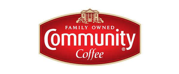 Community Coffee Logo - Red oval gradient crest with white serif and sans-serif type in middle