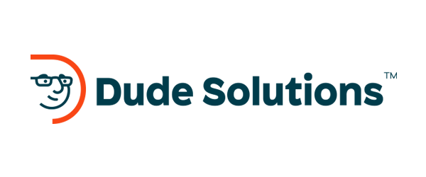 Dude Solutions Logo - Dark blue sans-serif type with orange uppercase D with a dude's face inside