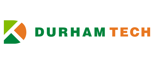 Durham Tech Logo - Green and orange sans-serif type with DT icon to left