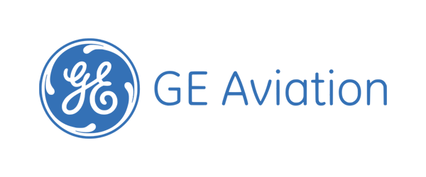 GE Aviation Logo - Blue circle with GE in middle and blue sans-serif type to right