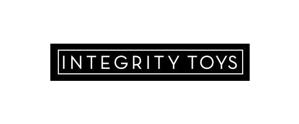 Integrity Toys Logo - Black rectangle with sans-serif type inside and white outline around type