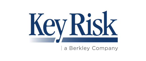 Key Risk Logo - Navy blue serif type with blue gradient and gray tagline below
