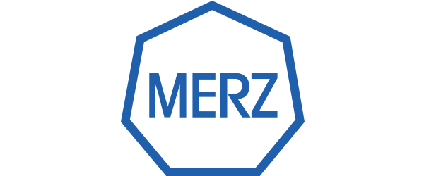 Merz Logo - Blue sans-serif type inside a blue outlines heptagon