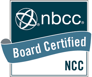 NBCC Board Certified Logo - blue and white logo with white sans-serif type inside