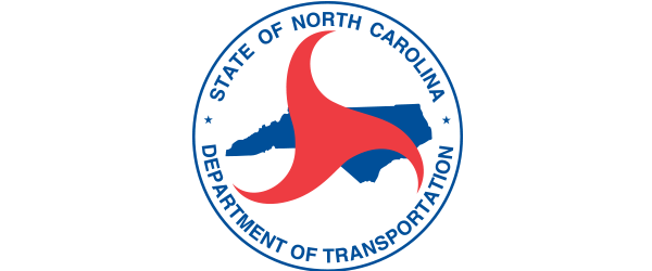 North Carolina Department of Transportation Logo - White circle with blue outline and sans-serif type inside with blue NC map and red triangle with curved points