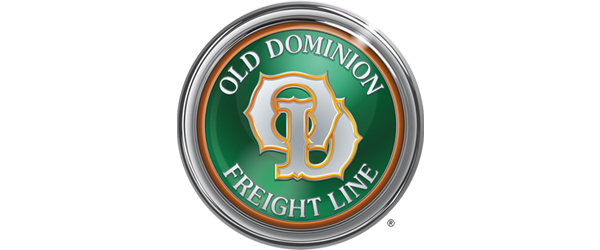 Old Dominion Freight Line Logo - Illustrated circle in metal with green center and white serif type in middle
