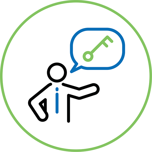 Speaking Engagements Icon - Illustration of a person with a comment bubble with a key inside it