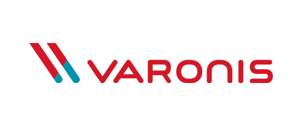 Varonis Logo - Red sans-serif type with red and turquoise slanted lines to left
