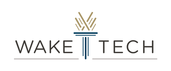 Wake Tech Logo - Black sans-serif type with dark blue torch and beige flame in center