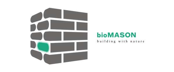 bioMASON Logo - Illustration of gray bricks with one green-turquoise brick and turquoise and black type to right