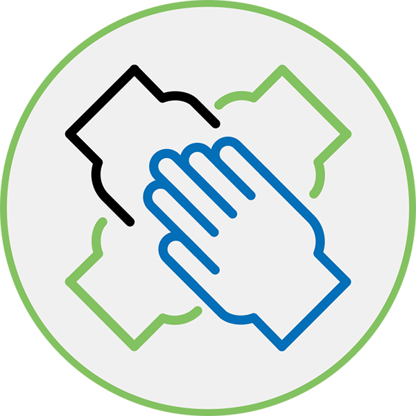 Huddle Up Icon - Illustration of four hands in inside a circle