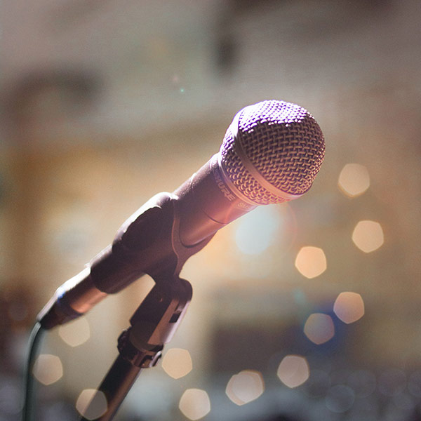 Close Up Of Microphone On Stage
