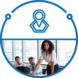 Blue circle icon with photo in lower half of a woman speaking in a meeting