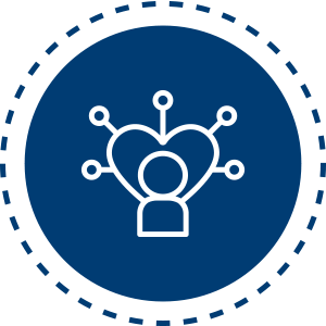 Everything DiSC Agile EQ Icon - Person wearing a crown over dark blue circle