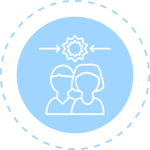 Everything DiSC Productive Conflict Icon - 2 people with 2 arrows above them pointing inward toward a burst over light blue circle