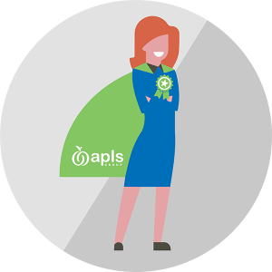 Illustration of woman wearing a cape with APLS logo on it