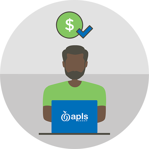Illustration of man using a laptop with APLS logo on it and a dollar sign and checkmark above him