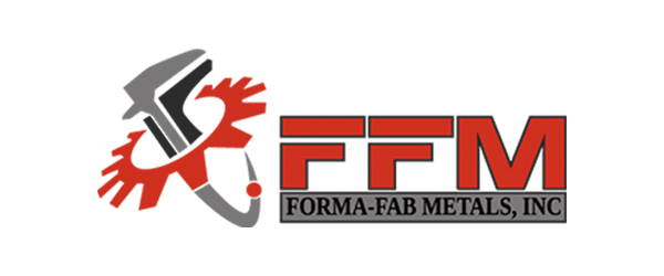 FFM Logo - Red-orange sans-serif type with gear and caliper icon to left