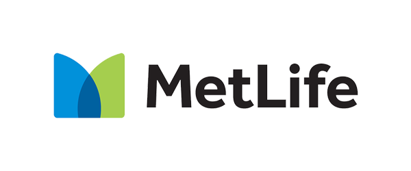 MetLife Logo - Black sans-serif type with blue and green icon to left