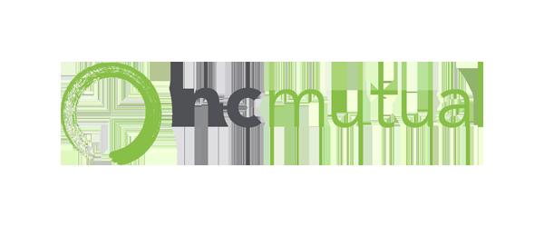North Carolina Mutual Logo - Gray and light green sans-serif type with green paintbrush circle to left