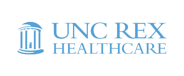 UNC REX Healthcare Logo - Blue serif type with columned building icon to left