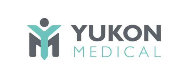 Yukon Medical Logo - Gray and aqua sans-serif type with YM icon to left