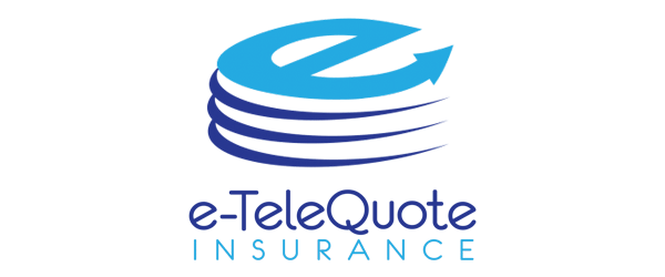 e-TeleQuote Logo - Dark and light blue sans-serif type with letter e icon above